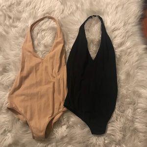 Black/ Nude American apparel bodysuits